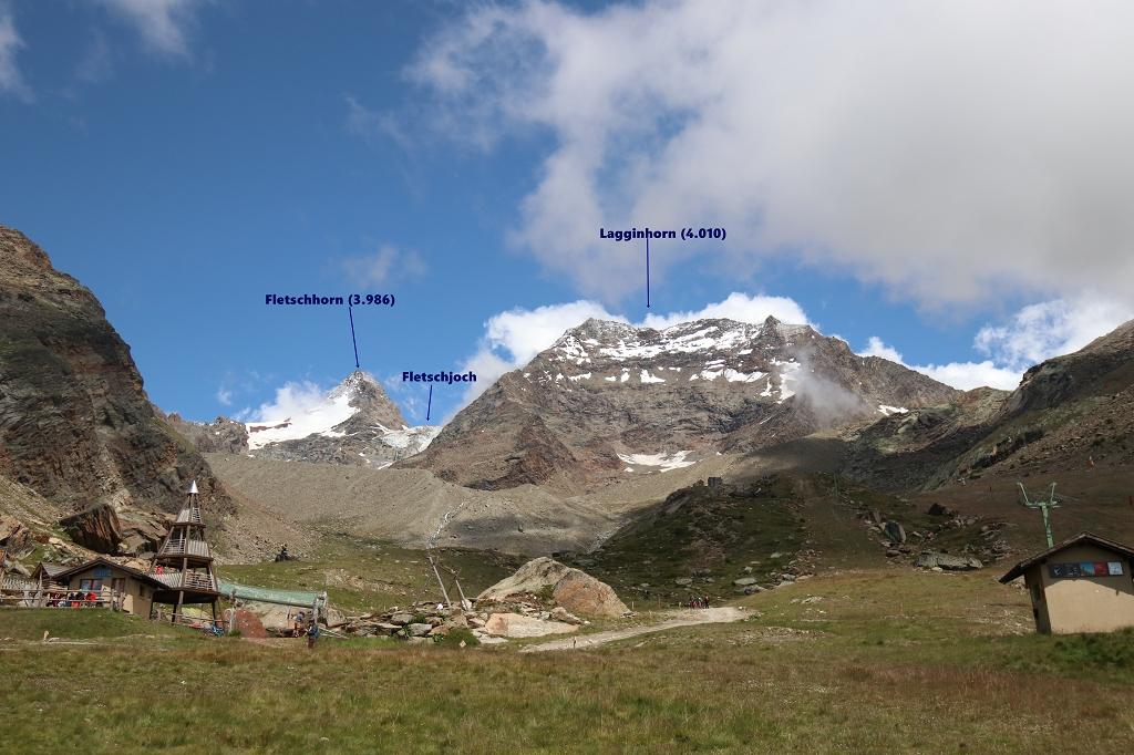 Auf dem Almageller Höhenweg - Blick auf Fletschhorn und Lagginhorn