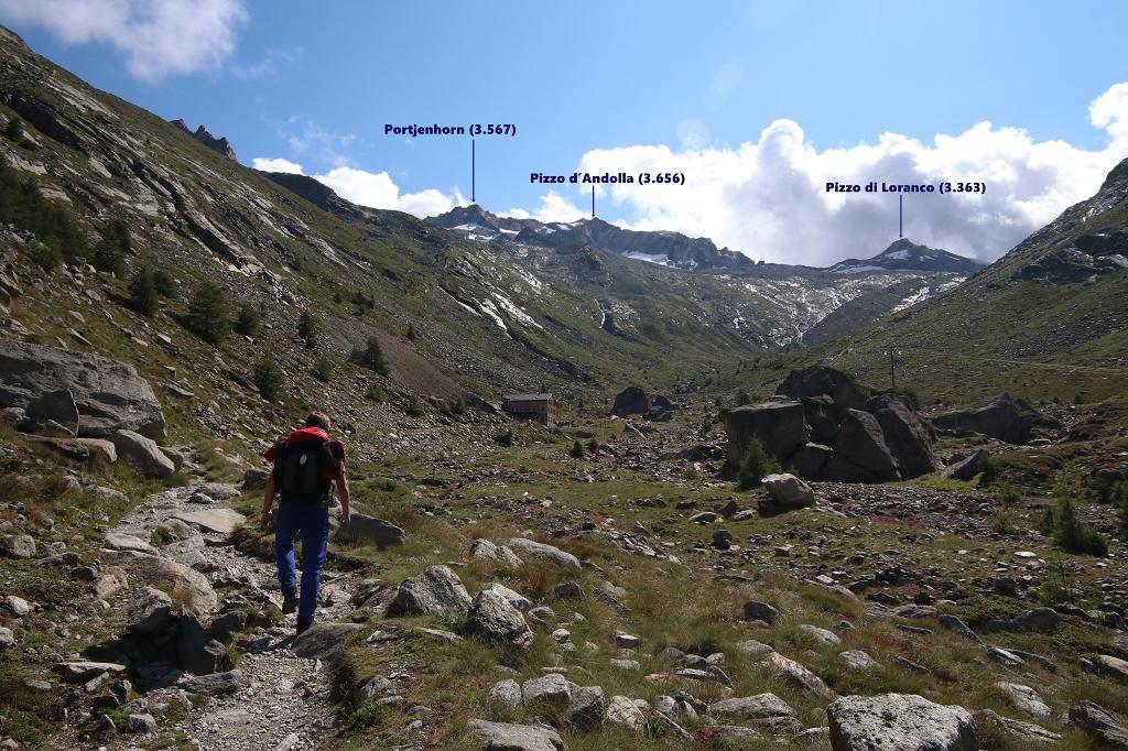 Auf dem Almageller Höhenweg zur Almagelleralp - Blick auf Portjenhorn, Pizzo d´Andolla und Pizzo di Loranco