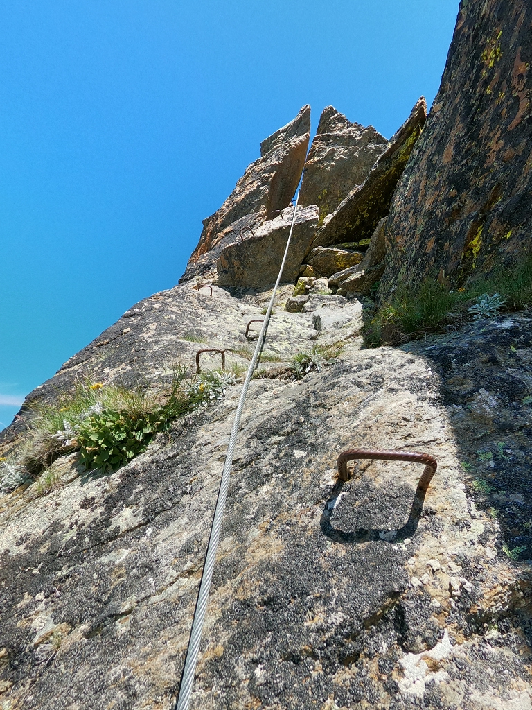 Aufstieg zum Almagellerhorn via Klettersteig - Schlüsselstelle