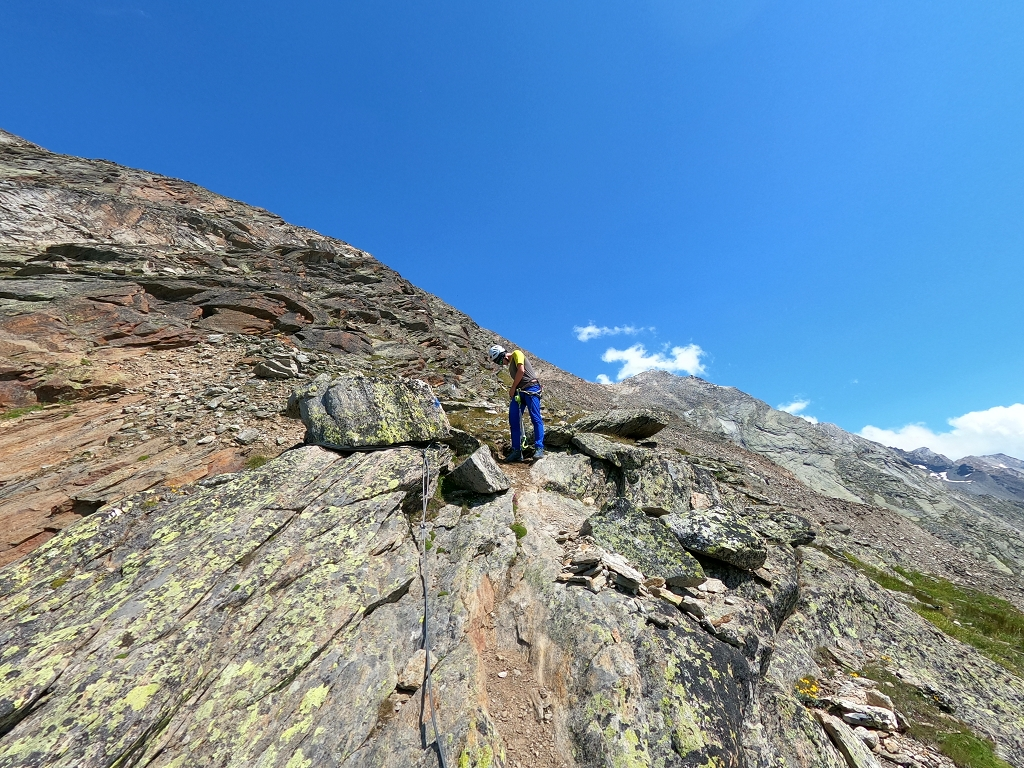 Abstieg über Aufstiegsroute am Almagellerhorn - Rückweg über Klettersteig