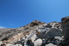 Aufstieg auf das Almagellerhorn - Schlüsselstelle im Blockgelände (Klettern II)