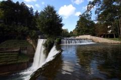 Blick auf die Pliva und den Wasserfall von Jajce
