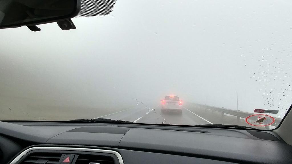 Nebelige Rückfahrt zum Flughafen in Vagar