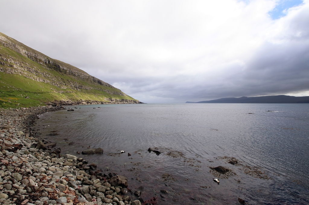 Blick auf das Meer in Kirkjubøur