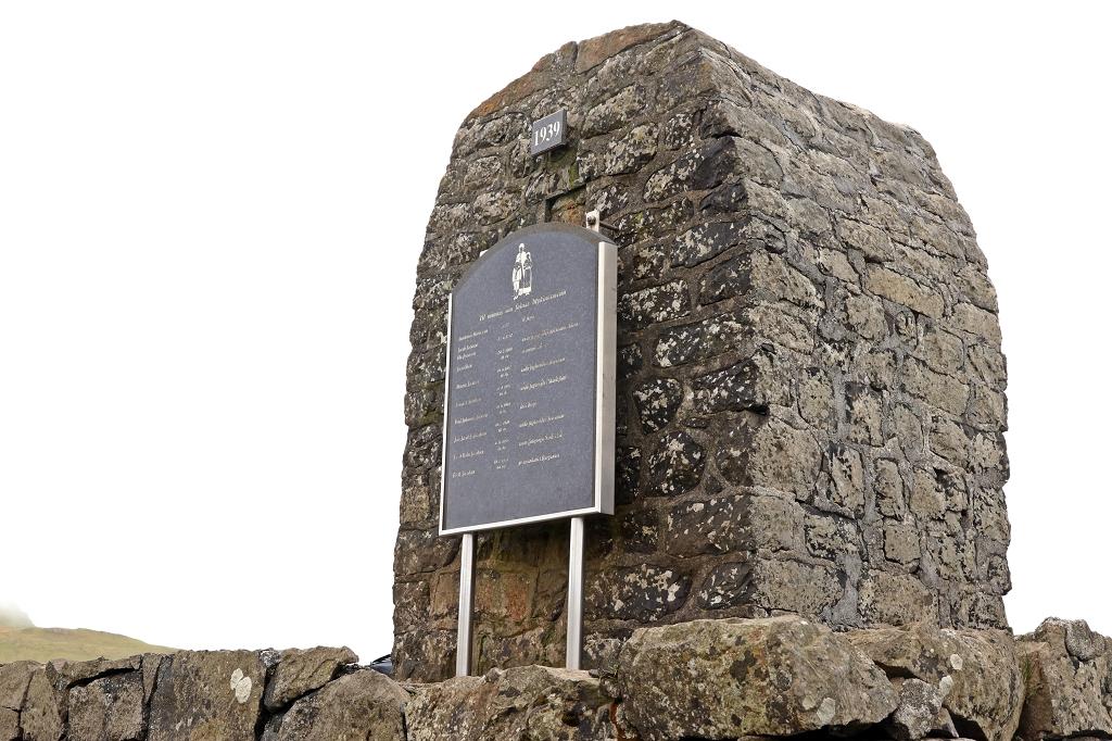 Denkmal aus dem zweiten Weltkrieg auf Mykines