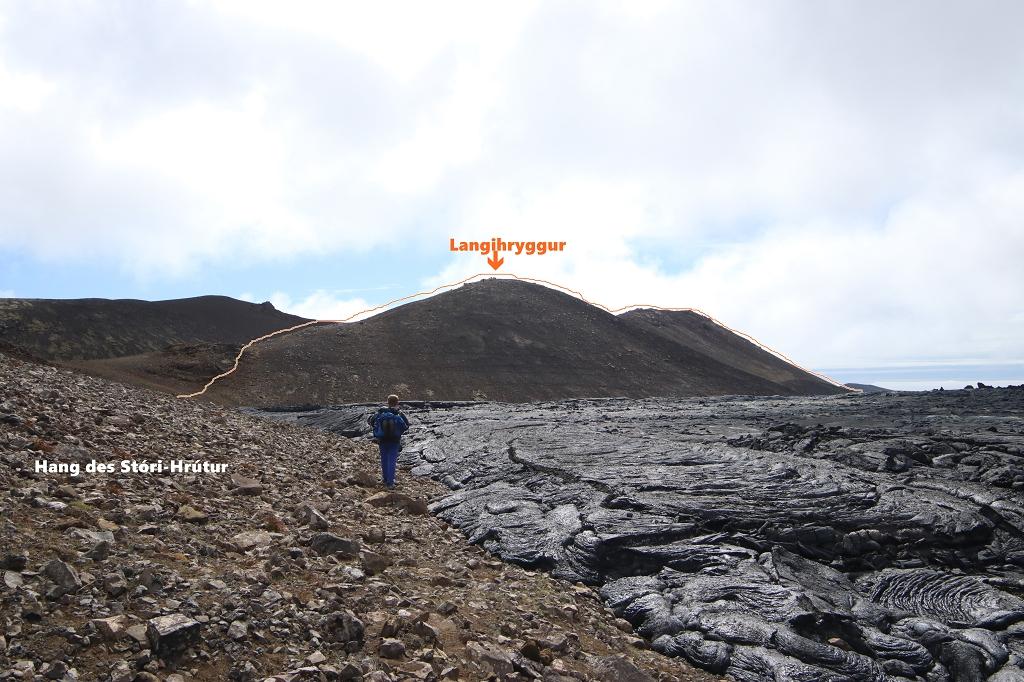 Verlauf des Weges C auf Langihryggur und weiter zum Stóri-Hrútur