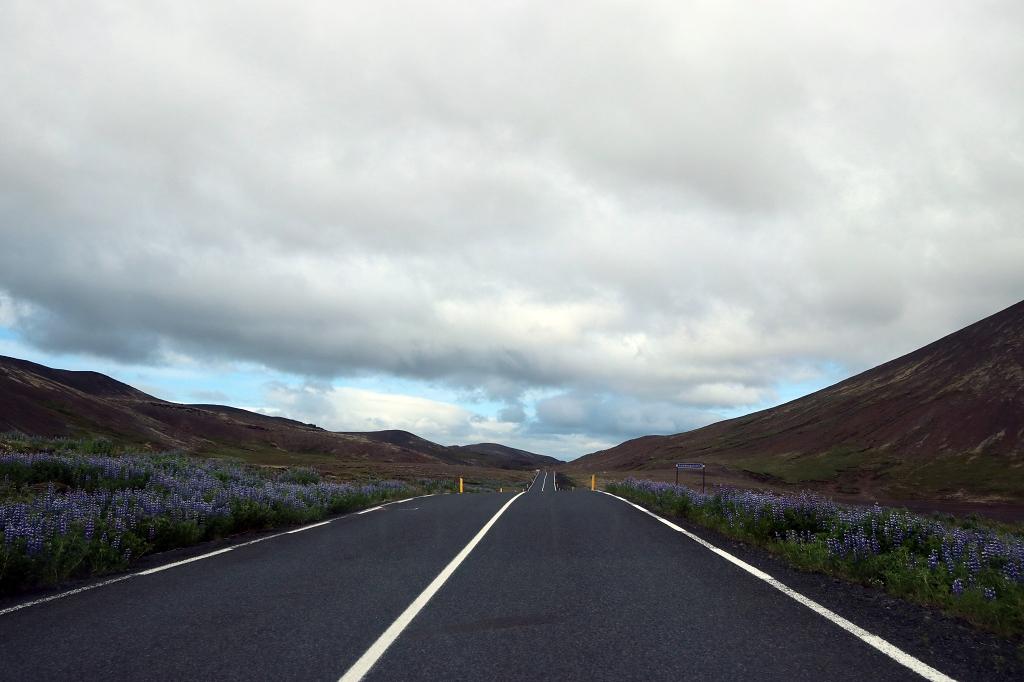 Straße 42 Richtung Hafnarfjörður und Reykjavik, Island