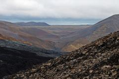 Blick vom Hang des Stóri-Hrútur in das Meradalir-Tal