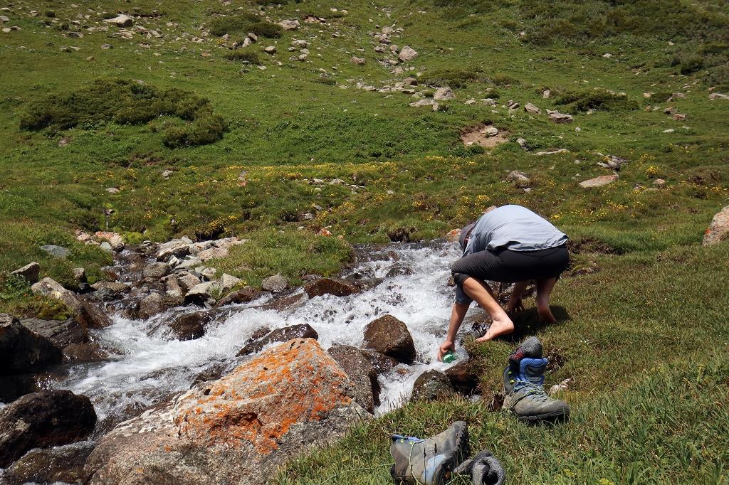 Pause und Zeit zum Auffüllen der Wasservorräte