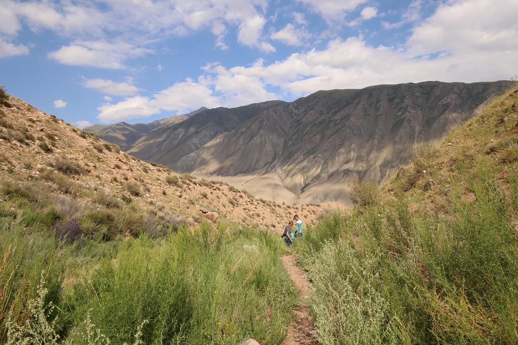 Ein schmaler Pfad führt weiter bergauf zum Aussichtspunkt
