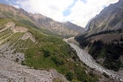 Blick zurück zum Ak-Sai-Wasserfall
