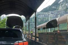 Auf dem Autozug von Kandersteg nach Goppenstein