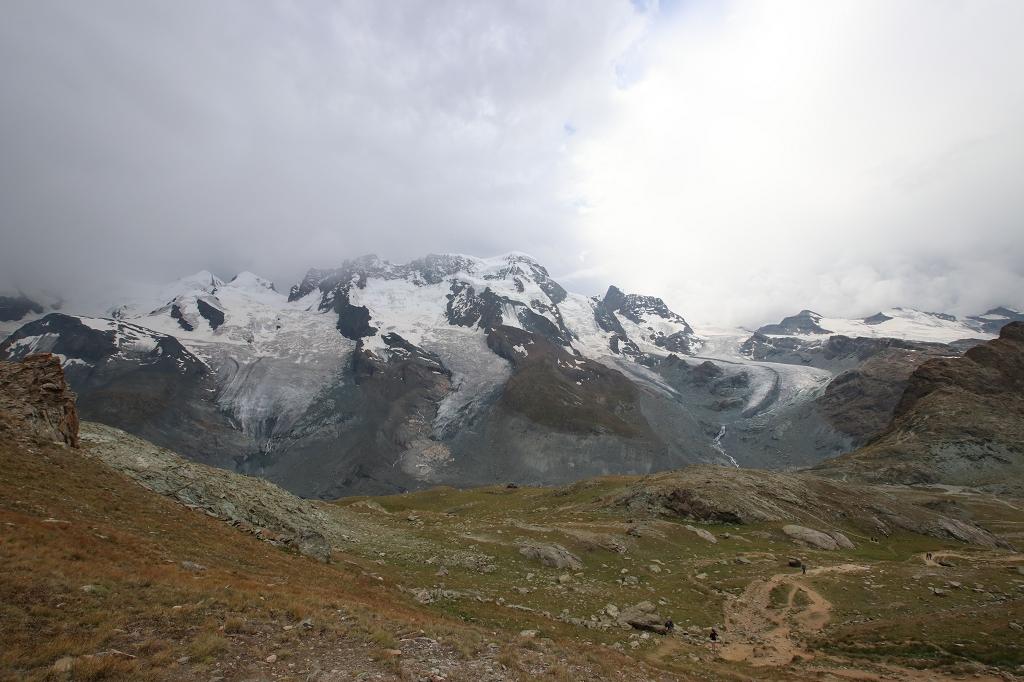 v.r. Theodulgletscher, Triftjigletscher, Breithorngletscher, Schwarzgletscher