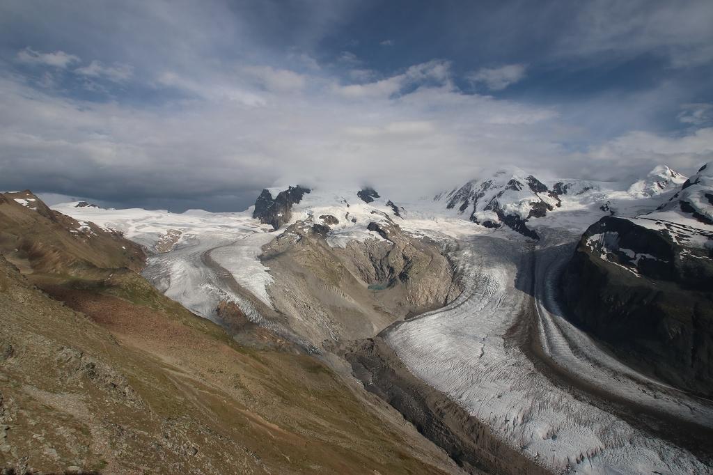Auf dem Gornergrat - Gornergletscher, Monte-Rosa-Massiv und Liskamm