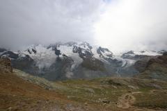 v.r. Theodulgletscher, Triftjigletscher, Breithorngletscher