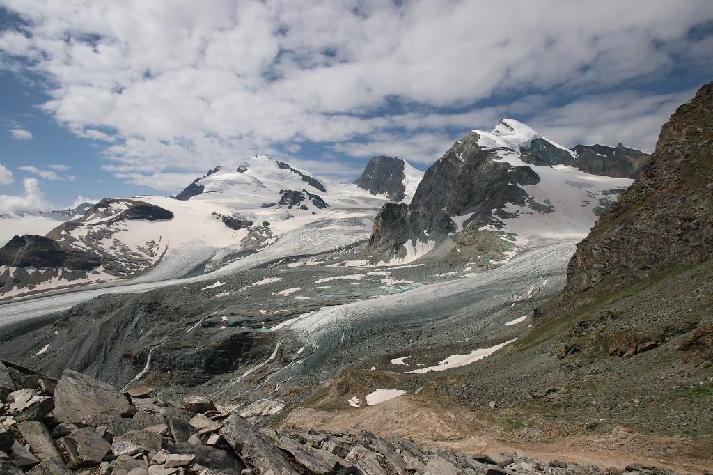 Hohlaubgletscher und die Gipfel des Strahlhorns, Rimpfischhorn und Allalinhorn