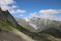 Blick auf den Fieschergletscher und das Oberaarhorn