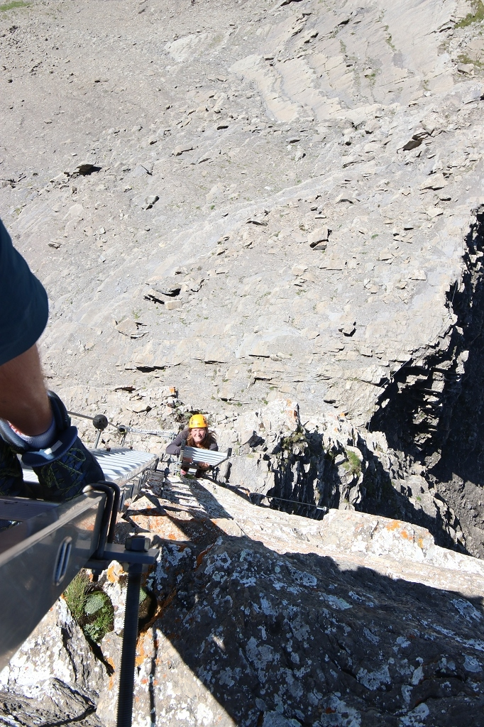 Leiternpassage beiim Klettersteig auf das Schwarzhorn