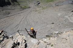 3er-Leitern-Passage beim Klettersteig auf das Schwarzhorn