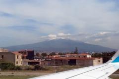 Blick auf Ätna vom Flughafen Catania