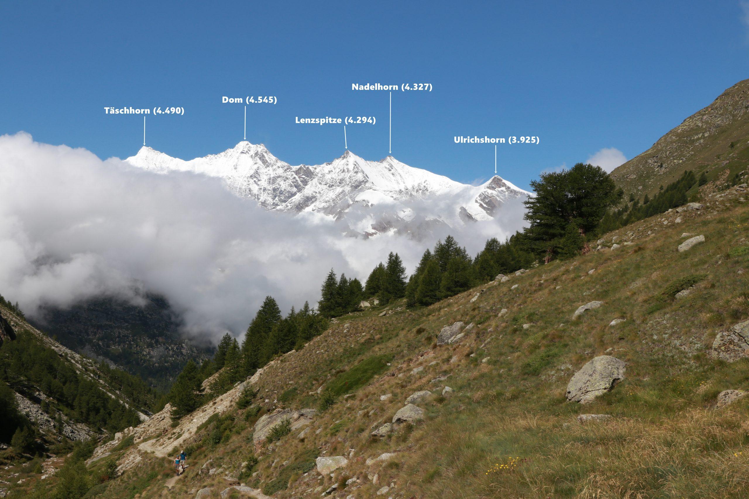 Blick auf die Gipfel des Täschhorn, Dom, Lenzspitze, Nadelhorn und Ulrichshorn